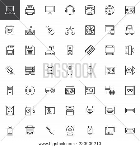 Computer components line icons set, outline vector symbol collection, linear style pictogram pack. Signs, logo illustration. Set includes icons as computer, hardware, monitor, mouse, keyboard, ssd