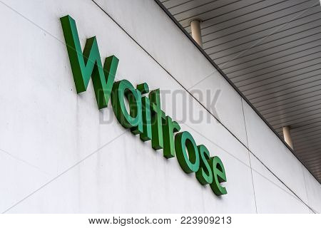 Northampton UK January 06 2018: Waitrose Superstore logo sign exterior.