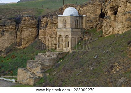 View of the old mausoleum of Diri Baba in the vicinity of the Maraza village. Azerbaijan