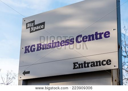 Northampton UK January 10 2018: Biz Space KG Business Centre logo sign stand.