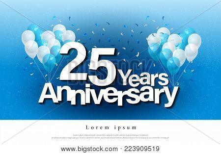 25th years anniversary greeting card lettering template with balloon and confetti. Design for invitation card, banner, web, header and flyer. vector illustrator