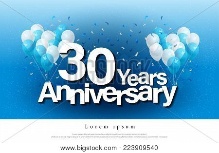 30th years anniversary greeting card lettering template with balloon and confetti. Design for invitation card, banner, web, header and flyer. vector illustrator