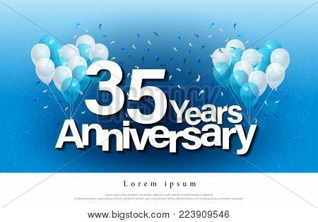 35th years anniversary greeting card lettering template with balloon and confetti. Design for invitation card, banner, web, header and flyer. vector illustrator