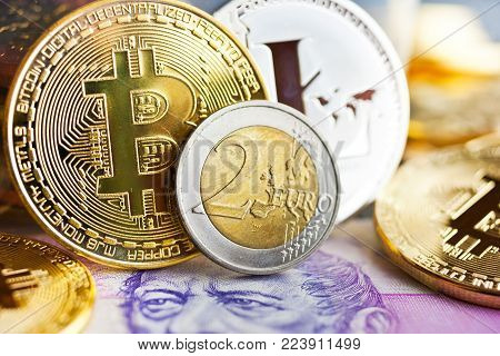Virtual cryptocurrency - financial technology and internet money - Czech crown money and variety of crypto currencies - Bitcoin, Litecoin, and Euro