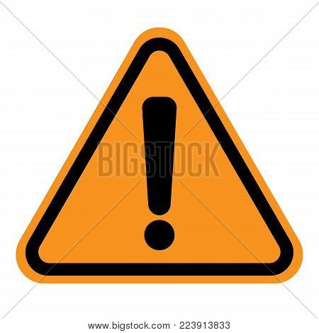 WARNING ICON. Exclamation point (mark) on yellow and black triangle sign. Vector.