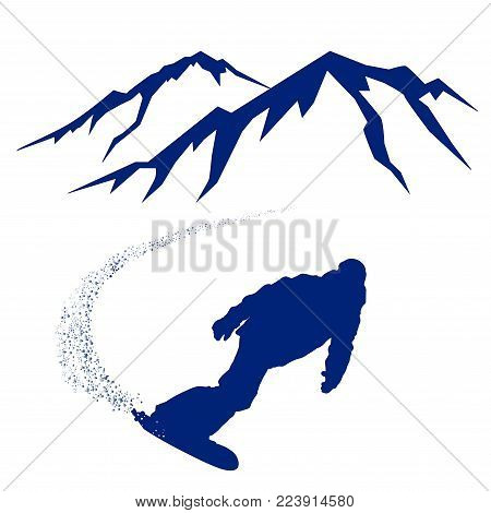 Blue silhouette of a snowboarder descending the mountain slope - vector illustration