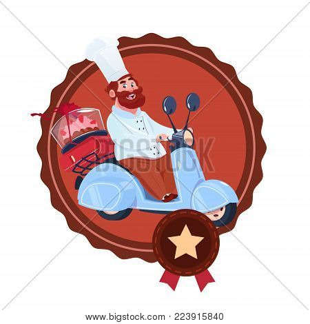 Restaurant Delivery Service Icon Cook Man Deliver Cake Riding Retro Scooter Template Logo Flat Vector Illustration