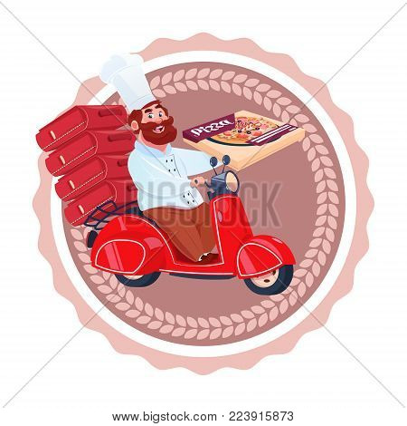 Man Cook Deliver Pizza Riding Retro Scooter Restaurant Food Delivery Icon Isolated Template Logo Flat Vector Illustration