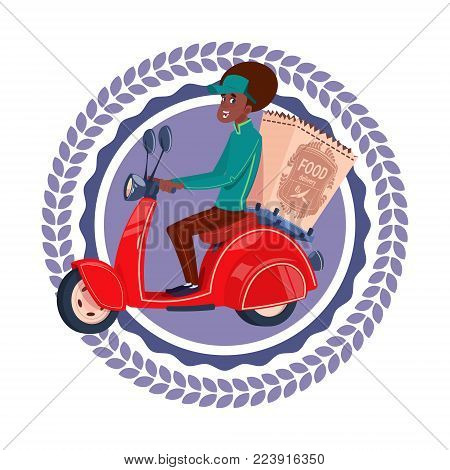 Fast Delivery Service Icon Isolated African American Woman Deliver Grocery On Retro Scooter Template Logo Flat Vector Illustration