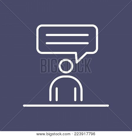 Speaking man business people icon simple line flat illustration.