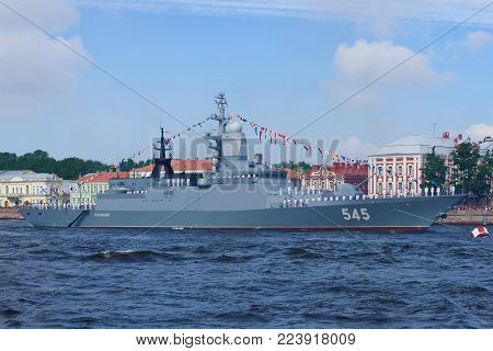 SAINT PETERSBURG, RUSSIA - JULY 30, 2017: The patrol ship 2 ranks
