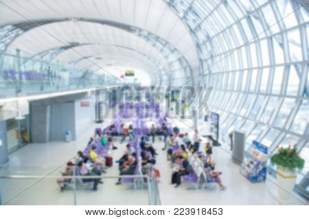 Traveling Concept. Travelers Asian Walking With A Luggage At Airport Terminal And Airport Terminal B