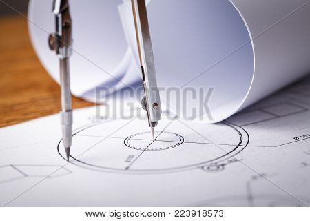 Technical Drawings. Design Drawings. Project By Pencil On Paper. Drawing Detail And Drawing Tools