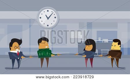 Two Team Of Businesspeople Pulling Rope Business Competition Concept Flat Vector Illustration