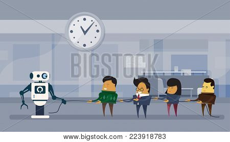 Human Vs Robots Modern Robotic And Business People Group Pulling Rope Artificial Intelligence Concept Flat Vector Illustration
