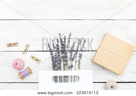 Handmade. A bouquet of lavender and a gift box.