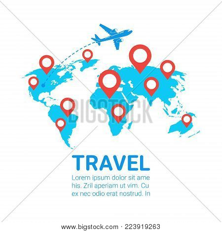 World Travel By Plane Template Banner Airplane Fly Over Earth Map With Red Navigation Pointers Flat Vector Illustration