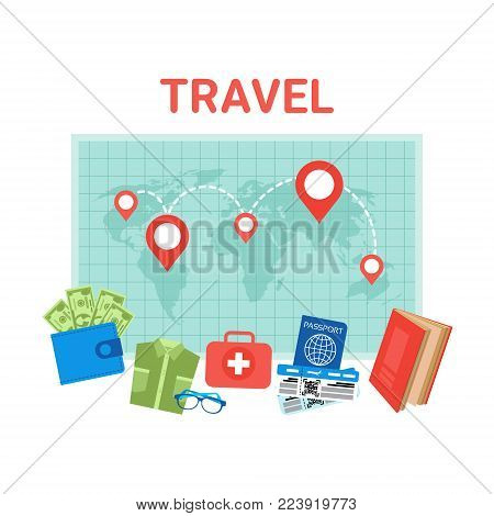 Travel Planning Background Pointers On World Map Baggage Items Icons Flat Vector Illustration