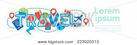 Planning Travel Horizontal Banner Template Backgroung Tour Route, Packing And Booking Concept Flat Vector Illustration