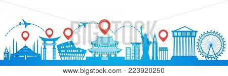 Map Pointer Over Famous Seoul Landmarks Travel Route Planning Tourism Destinations Concept Flat Vector Illustration