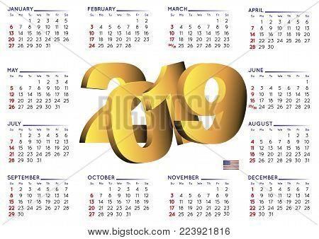 2019 Calendar In Spanish Horizontal