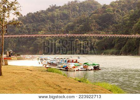 Closeup Lanscape Riverside area of Bitan in Taipei,Taiwan