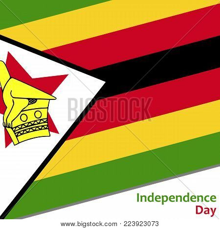 Zimbabwe independence day with flag vector illustration for web