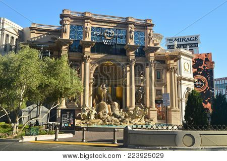 Beautiful Hotel Caesar Palace On The Las Vegas Strip. Travel Vacation June 26, 2017. Las Vegas Strip, Las Vegas Nevada USA EEUU.