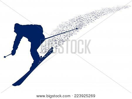Blue silhouette of a skier descending the mountain slope - vector illustration