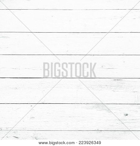 Wood texture background, white wood planks. Grunge washed wood wall pattern