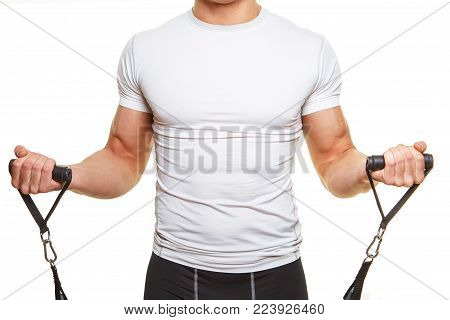 Male body in white shirt with expander. Isolated on white