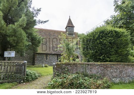 Footpath and entrance to Saint Margaret's Church in the village of Hucking, Kent, UK