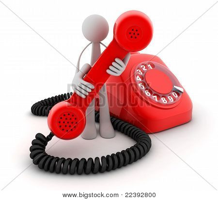 Man And Telephone Red