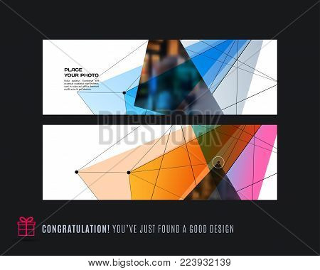 Abstract vector set of modern horizontal website banners with colourful triangles, geometric shapes, abstract lines for construction, teamwork, tech, communication. Clean web headers design.