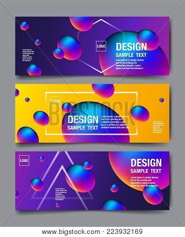 Hologram Abstract Background, Template Banner Design, 3D vector, Holography Foil layout, Fluid Trendy design.