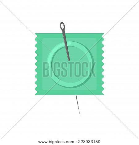 Needle and condom. Condom is pierced. Vector illustration