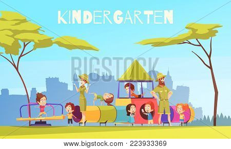 Kindergarten children playground composition with urban scenery silhouettes and group of pre-schoolers with nursery teachers vector illustration