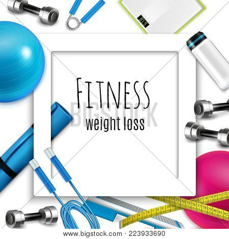 Fitness weight loss healthy lifestyle accessories white square frame with skip rope dumbbells scale realistic vector illustration