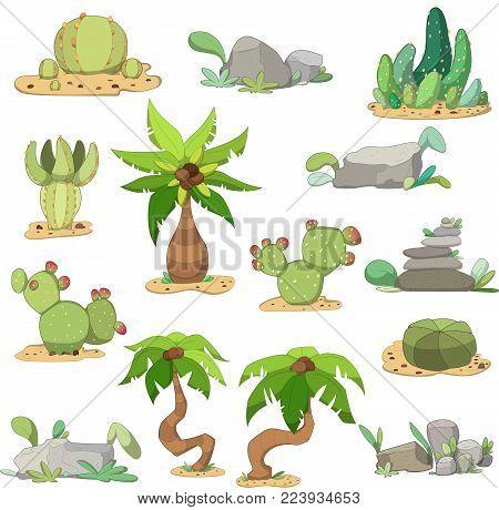 Set of cacti, stones and palms. Desert/tropic location. Vector illustration
