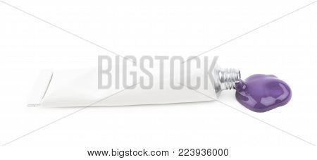 Metal tube of paint with the dye spilling out of it, composition isolated over the white background