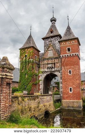 The Mosan Renaissance gate tower of the Commandery Castle at Sint-Pieters-Voeren, Belgium