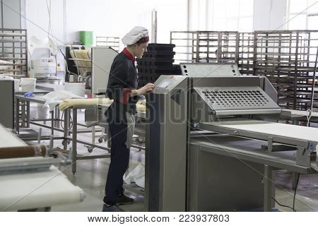 Belarus, the city of Gomel, January 22, 2017. Culinary shop for baking bakery products and desserts.Factory for baking culinary products.Industrial baking line.Culinary production