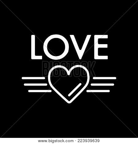Simple Cute Valentine's Day Text Love on Black Background. Vector Word Love for Greeting Card or Valentines Day Party Decoration eps10