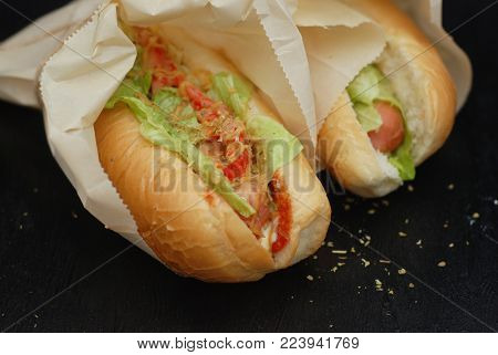 Homemade Two Delicious Hotdogs in Craft Paper with fresh Letuce, Tomatoes, vegetables