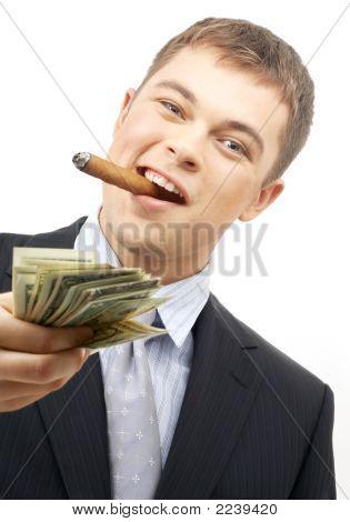 Smoking Gangster Holding Dollar Bills