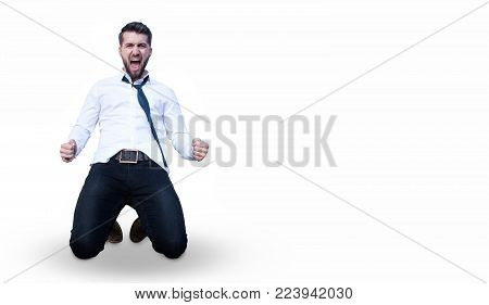 Attractive business man celebrates his victory isolated on a white background