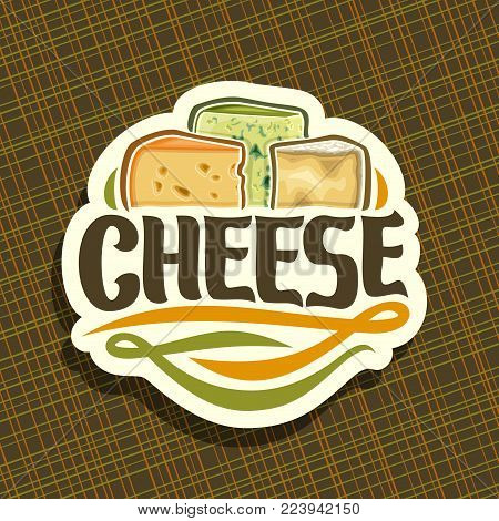 Vector logo for Cheese, on label slices of dutch maasdam with holes, french roquefort with mold and delicious Italian parmesan cheeses, original brush font for title text cheese on white background.