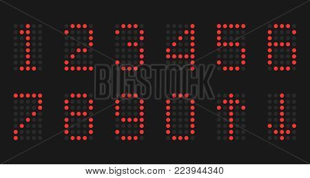 The numbers of red lamps on a black background.