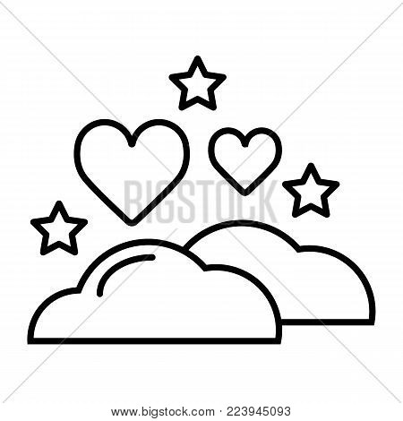 clouds, hearts and stars icon. Sleep dreams symbol. Night of love time sign. Thin vector icon isolated on white. Outline design