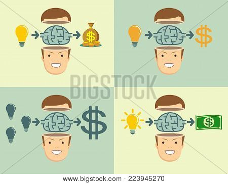 Business, Technology and marketing. Young businessman thinking about Employee benefits. Stock flat vector illustration.